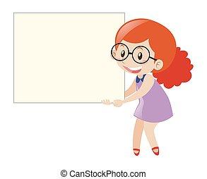 Red hair girl holding blank board illustration