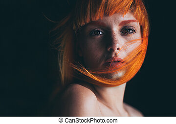 Red hair girl portrait