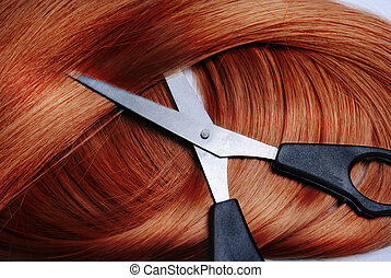 Red Hair - Long healthy red hair and professional scissors