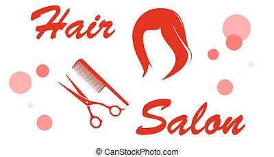 red hair salon signboard with wig silhouette
