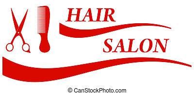 red hair salon symbol - red badge for barbershop - hair...