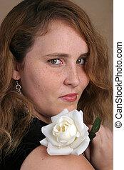 Red Hair White Rose