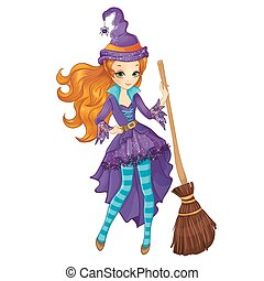 Red Hair Witch With Broom - Halloween illustration of ...