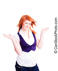 red hair woman holding arms up over white background