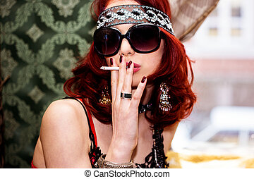 red hair woman smoking - pretty red hair woman portrait with...