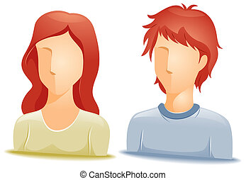 Red Haired Avatars with Clipping Path