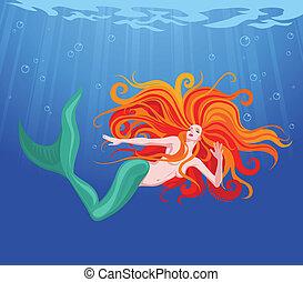 Red-haired beauty mermaid swim in sea water