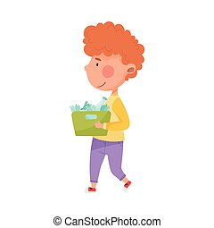 Red Haired Boy Character Carrying Broken Glass for Recycling Vector Illustration
