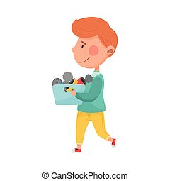 Red Haired Boy Character Carrying Pile of Cans as Sorted Garbage for Recycling Vector Illustration