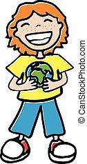 boy holding a globe