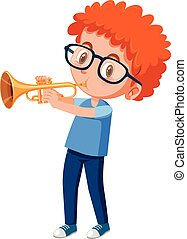Red haired boy playing trumpet illustration