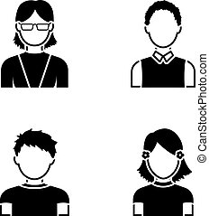 Red-haired boy, teen girl, grandmother wearing glasses.Avatar set collection icons in black style vector symbol stock illustration web.