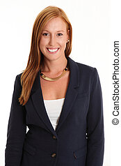 Red haired businesswoman in blue suit smiling