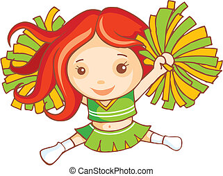 Red haired cheer leader is dancing
