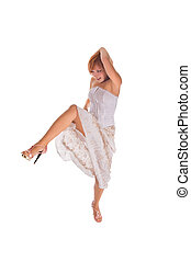 Red haired dancer on white - Red haired dancer isolated on...