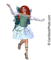 Red haired fairy - Digitally rendered illustration of a...