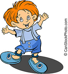 Red-haired funny little boy. Vector illustration