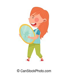 Red Haired Girl Character Carrying Broken Glass Mirror for Recycling Vector Illustration