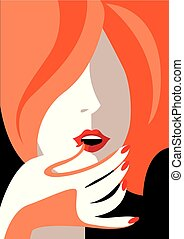 Red haired girl. - Creative conceptual vector. Womans face.