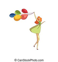 Red-haired girl in a dress dancing with balloons. Vector illustration on white background.