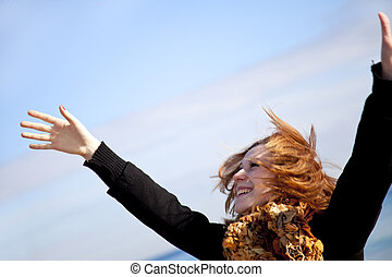Red-haired girl in action.