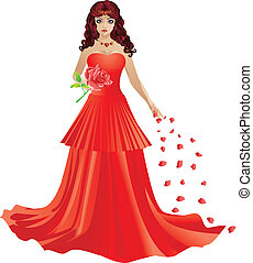 Red haired girl in red dress - Illustration of beautiful red...
