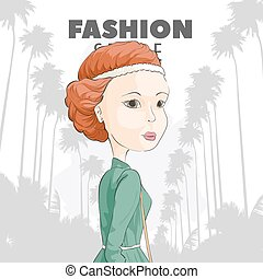 Red-haired girl on a background of palms - Gorgeous...