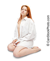 red-haired girl - red-haired pin-up girl in white shirt over...