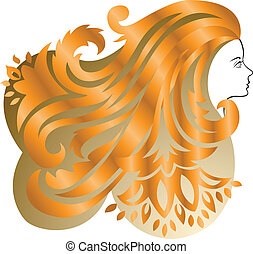 Red-haired girl - Profile of a girl with lush  red hair