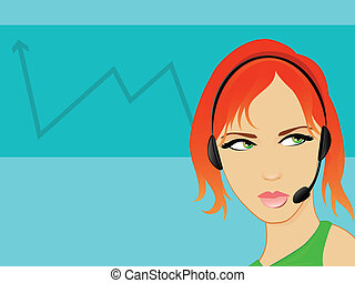 Red Haired Girl Wearing a  Headset