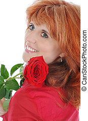 red-haired girl with a rose