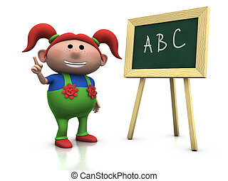 red haired girl with blackboard - 3d rendering/illustration...