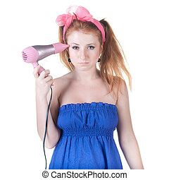 red-haired girl with the hair dryer.