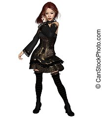 Red Haired Goth Party Girl - Red haired Goth girl in a gold...