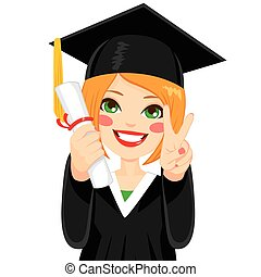 Red Haired Graduation Girl - Beautiful red haired girl on...
