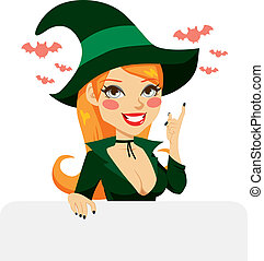Red Haired Halloween Witch - Sexy red Haired with green...