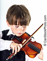 red-haired, hegedű, fiú, preschooler