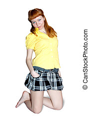 red-haired in short skirt - sexy girl in short skirt. ...