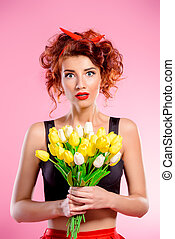 red-haired lady with tulips