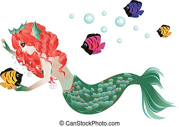 Red Haired Mermaid - Cute cartoon mermaid with red hair and...