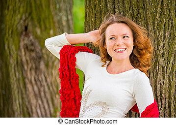 red-haired, pige, hos, curly hår, smukke, smiler