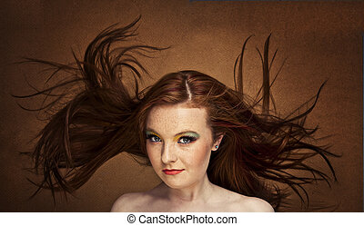 red haired pretty woman -  autumn portrait