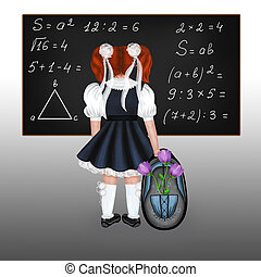 Red-haired schoolgirl - Little red-haired schoolgirl with a...