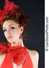 Red-haired - Beautiful red-haired girl in old fashion style...