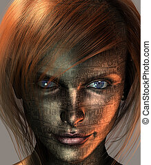 Red Haired Tech - Technology Woman with Earth Eye