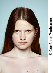 Red Haired Teenager - Natural unretouched series of a red-...