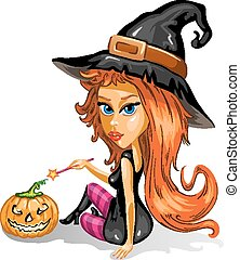 Red haired witch with pumpkin
