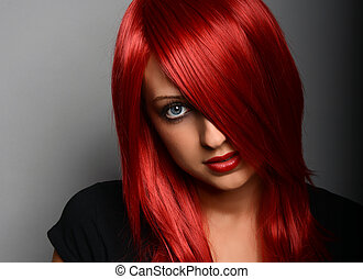 Red haired woman - Beautiful red haired girl over gray ...