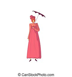 Red-haired woman in an old-fashioned pink dress and a hat...