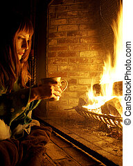 Red Haired Woman in Front of Fireplace - A twenty-something...
